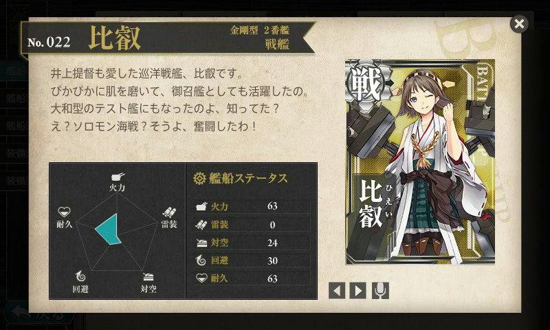 艦これ 図鑑No.22 比叡