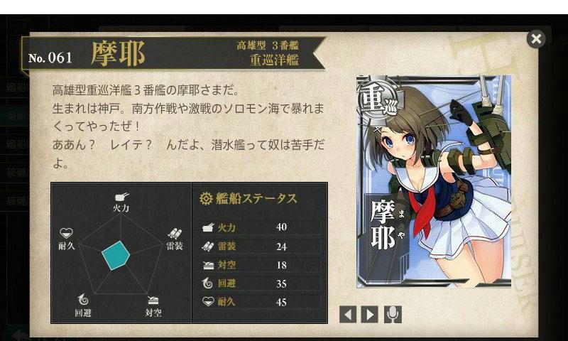 艦これ 図鑑No.61 摩耶