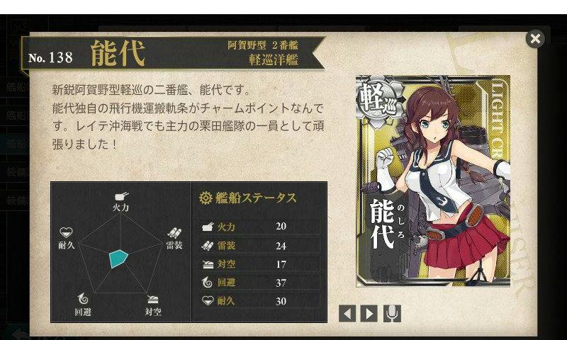 艦これ 図鑑No.138 能代