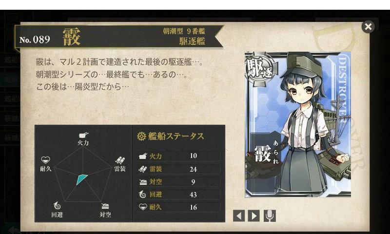艦これ 図鑑No.89 霰