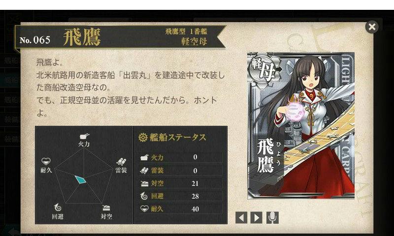 艦これ 図鑑No.65 飛鷹