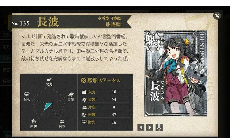 艦これ 図鑑No.135 長波