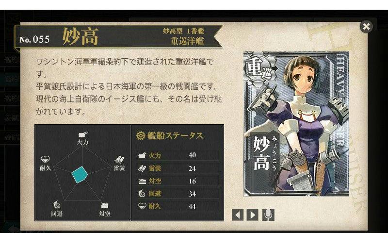 艦これ 図鑑No.55 妙高