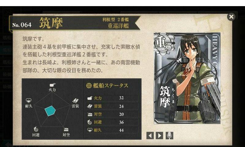 艦これ 図鑑No.64 筑摩