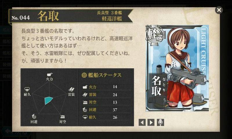 艦これ 図鑑No.44 名取