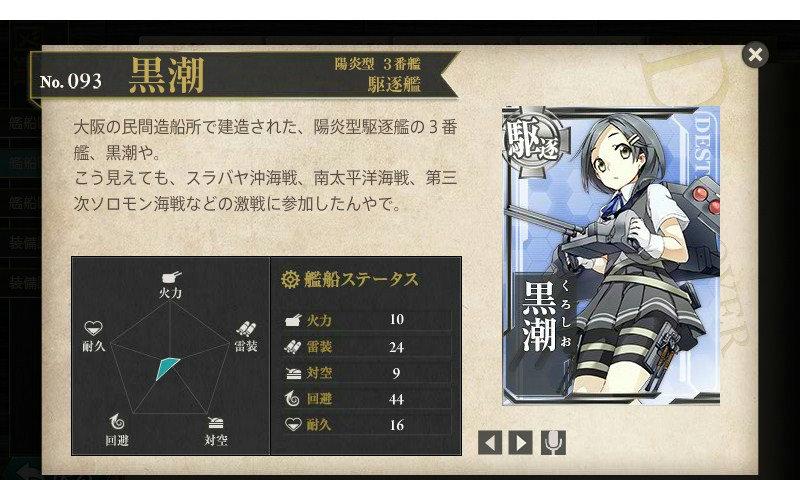 艦これ 図鑑No.93 黒潮