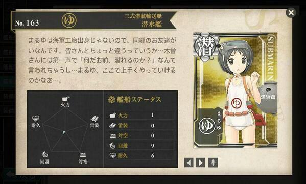 艦これ 図鑑No.163 まるゆ