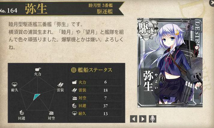 艦これ 図鑑No.164 弥生