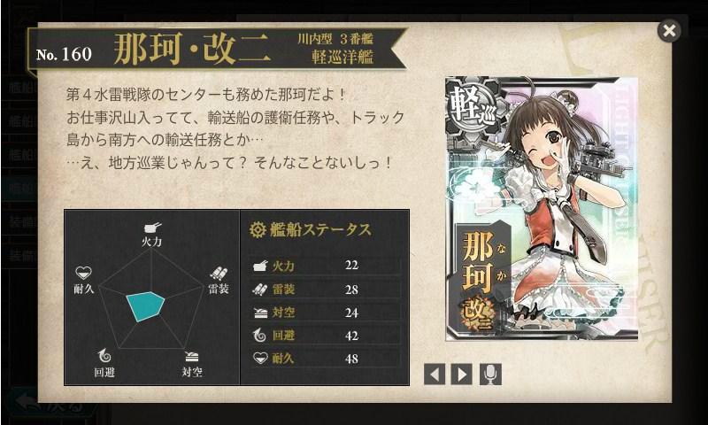 艦これ 図鑑No.160 那珂改二