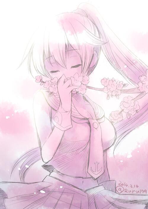 此の花は あの方の花 あの方の髪に 似合う花 矢矧×大和は聖域。 #艦これ版深夜の真剣お絵描き60分一本勝負